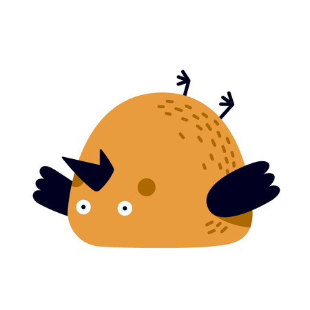 Illustration of tired or frustrated bird lying on a back.