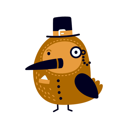 personages: Illustration of cute gentleman bird with top hat and monocle. Illustration