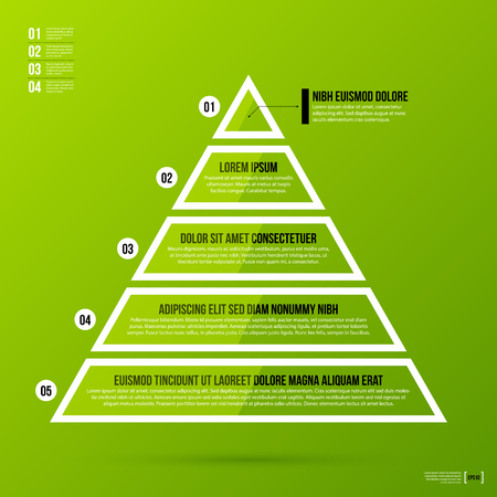 Pyramid chart template on fresh green background.