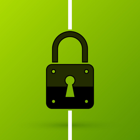 Padlock icon in flat style on fresh green background. Idea of security and protection. Useful for presentations or advertising.