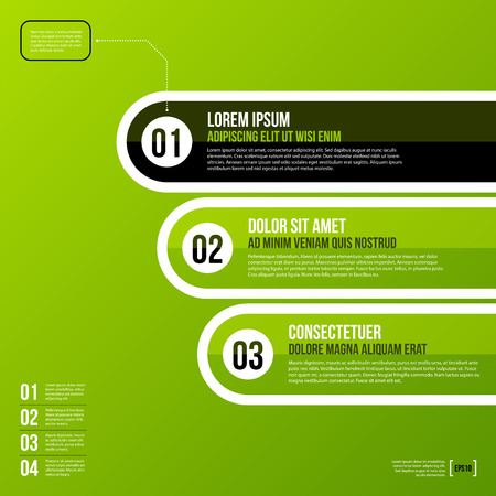 Fresh corporate chart template in flat style on green background. Useful for presentations or advertising. Vector template.