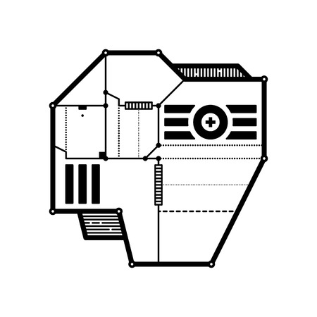 technologic: Abstract geometric composition with futuristic techno elements. Style of modern art and graffiti. The design element is isolated on a white background, suitable for prints, posters and cd covers.