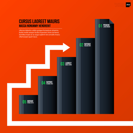 variant: Corporate business chart template on bright orange background. Useful for presentations and advertising.