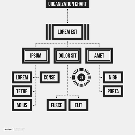 Organization Chart Template With Geometric Elements On White