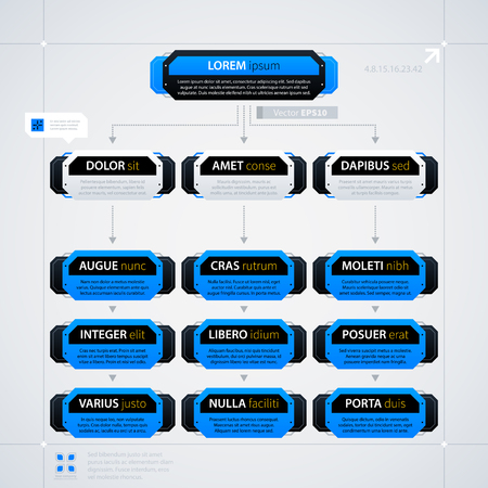 Modern organization chart template with rectangle elements. Futuristic techno business style. Useful for annual reports, presentations and advertising.
