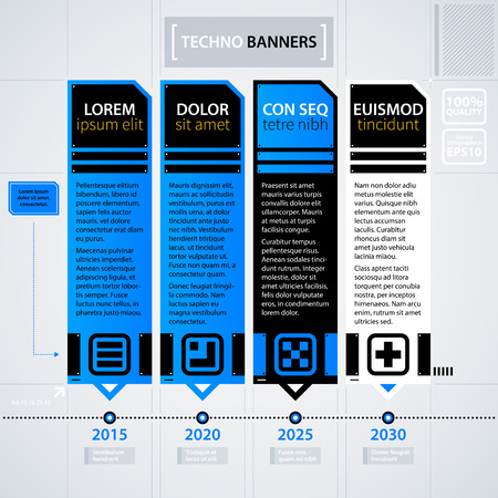 Modern Timeline Template. Futuristic Techno Business Style. Useful For  Annual Reports, Presentations And