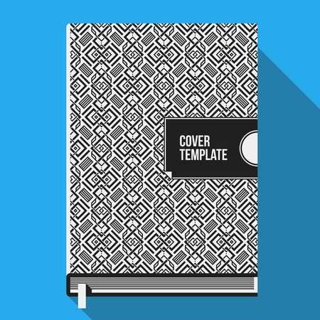 Book cover design template with monochrome geometric pattern. Useful for books, notebooks, annual reports or another media. Illustration