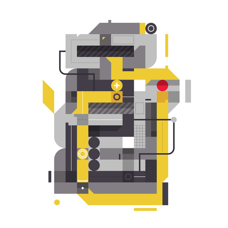 industrial complex: Abstract composition with industrial elements. Style of modern art and graffiti. The design element is isolated on a white background, suitable for prints, corporate posters and covers.