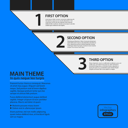 Corporate design template on blue background. Black and white colors. Useful for advertising, presentations and web design.