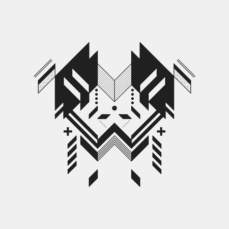 Élément de conception symétrique abstraite sur fond blanc. Style géométrique de l'art moderne.