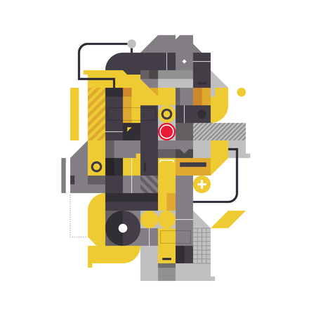 technologic: Abstract composition with industrial elements. Style of modern art and graffiti. The design element is isolated on a white background, suitable for prints, corporate posters and covers.