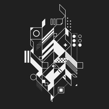 Abstract geometric element on black background. Useful for prints and posters. Illustration