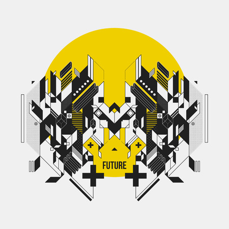 Abstract symmetric design element on yellow circle. Futuristic design, useful for prints and posters.
