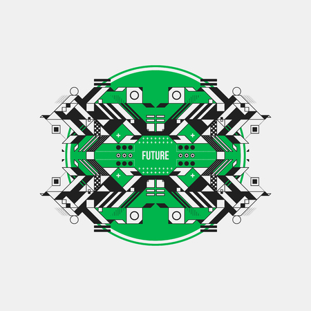 Abstract symmetric design element on green circle. Futuristic design, useful for prints and posters. Illustration