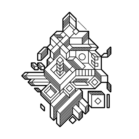 Abstract geometric composition with complex geometric shapes. Style of modern art and graffiti. The design element is isolated on a white background, suitable for prints, posters and covers.