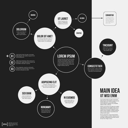 plantilla de la organización con elementos geométricos sobre fondo negro. Útil para presentaciones de la ciencia y de negocios.