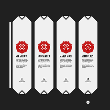 strict: Monochrome options template in strict contrast style. Useful for presentations and web design. Illustration