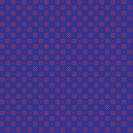 Cute pixelated pattern with simple geometric shapes. Useful for textile and interior design. Illustration
