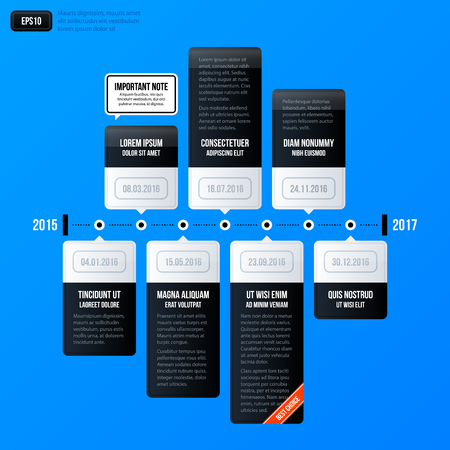 Corporate Business Timeline Template On Bright Orange Background
