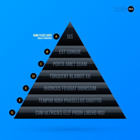 Corporate business pyramid chart template on bright blue background. Useful for presentations and advertising. Illustration