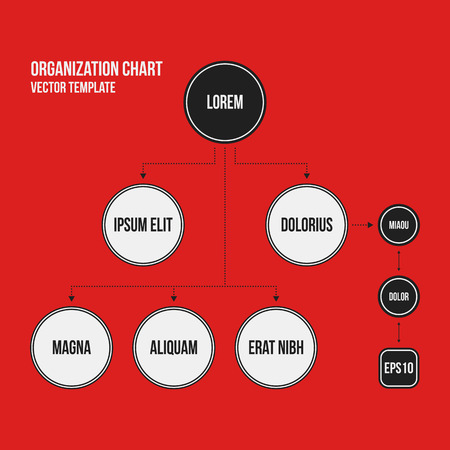Organization chart template with geometric elements on bright red background. Useful for science and business presentations. Illustration