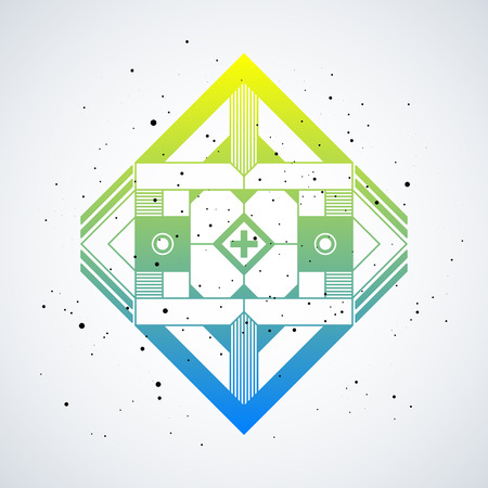 Futuristic design element with colorful gradient on white background. Useful as poster or print.