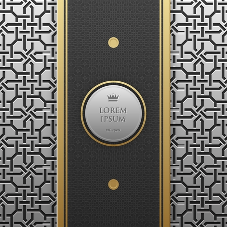 artdeco: Vertical banner template on silverplatinum metallic background with seamless geometric pattern. Elegant luxury style.
