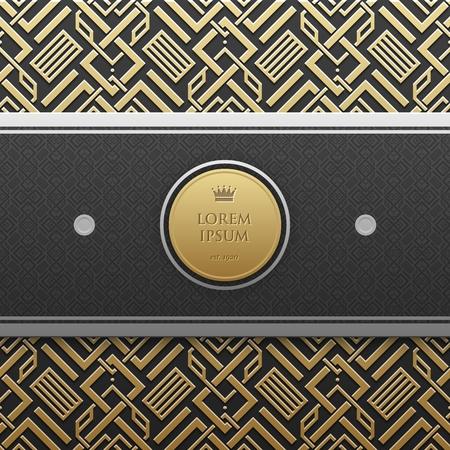 Horizontal banner template on golden metallic background with seamless geometric pattern. Elegant luxury style. Illustration