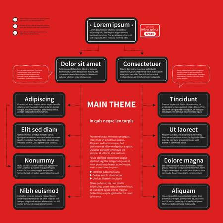 plantilla de la organización con elementos geométricos sobre fondo rojo brillante. Útil para presentaciones de la ciencia y de negocios.