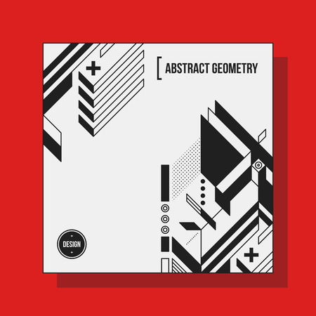 futurism: Square background design template with abstract geometric elements. Useful for CD covers, advertising and posters.
