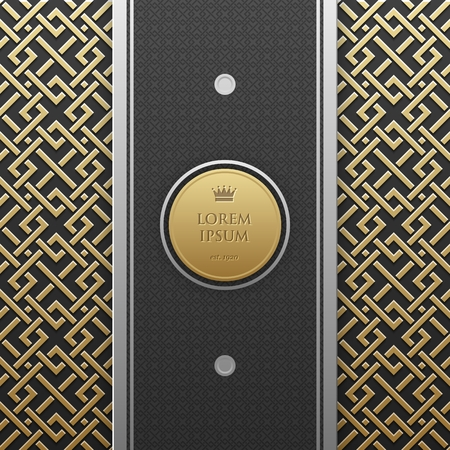 artdeco: Vertical banner template on golden metallic background with seamless geometric pattern. Elegant luxury style.