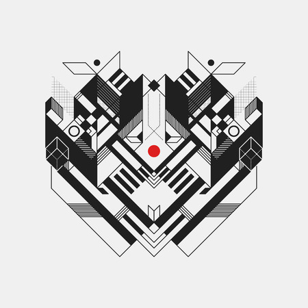 symetry: Abstract geometric design element on white background. Futuristic design, geometric shapes. Illustration