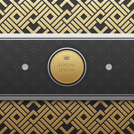 Modelo de la bandera horizontal en el fondo metálico de oro con el modelo geométrico sin fisuras. estilo de lujo elegante.