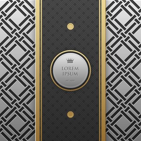platinum: Vertical banner template on silverplatinum metallic background with seamless geometric pattern. Elegant luxury style.