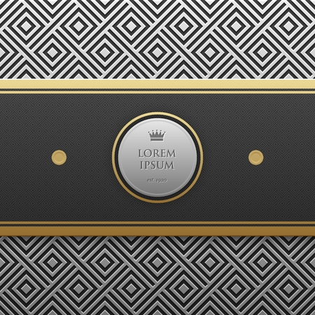 platinum: Horizontal banner template on silverplatinum metallic background with seamless geometric pattern. Elegant luxury style.