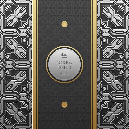 artdeco: Vertical banner template on silverplatinum metallic background with seamless geometric pattern. Elegant luxury style.