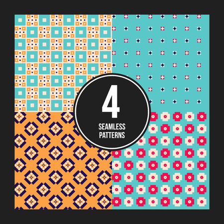 pixelated: Set of 4 colorful pixelated patterns. Childish style. Useful for wrapping and textile design.