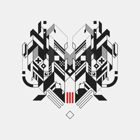 Abstract geometric design element on white background. Futuristic design, geometric shapes. Illustration