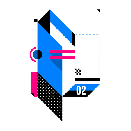 Abstract geometric composition. Style of Abstract art, Suprematism, modern street art and graffiti. The design element is isolated on a white background, suitable for prints and posters. Illustration
