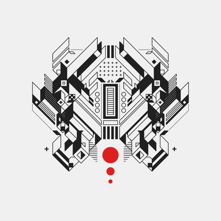 Abstract geometric design element on white background. Futuristic design, geometric shapes. Illustration