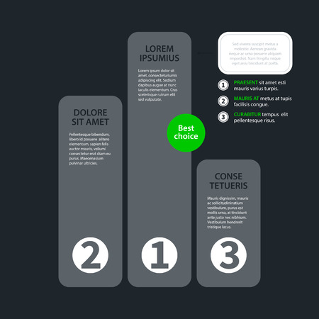tournament chart: Modern design chart template in flat style on dark gray background. Useful for corporate presentations and advertising. Illustration