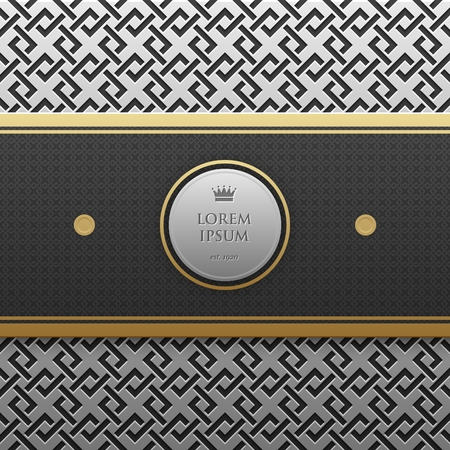 artdeco: Horizontal banner template on silverplatinum metallic background with seamless geometric pattern. Elegant luxury style.