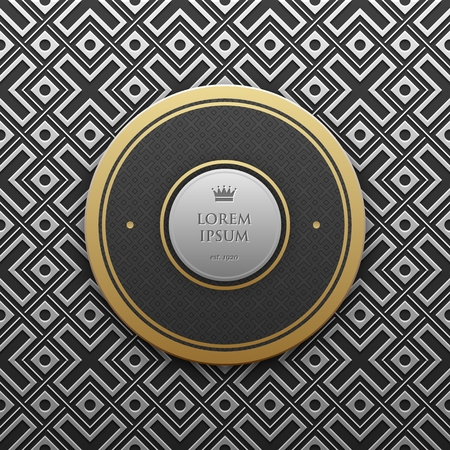 platinum: Round text banner template on silverplatinum metallic background with seamless geometric pattern. Elegant luxury style.