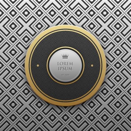 artdeco: Round text banner template on silverplatinum metallic background with seamless geometric pattern. Elegant luxury style.
