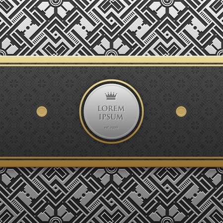 artdeco: Horizontal banner template on silverplatinum metallic background with seamless geometric pattern. Elegant luxury style.