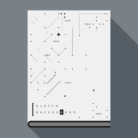 glitch: Glitch book coverposter design template with simple geometric design elements.