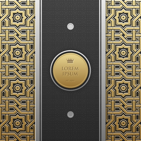 artdeco: Vertical banner template on golden metallic background with seamless geometric pattern. Elegant luxury style.