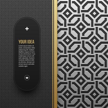artdeco: Web banner template on silverplatinum metallic background with seamless geometric pattern. Elegant luxury style.