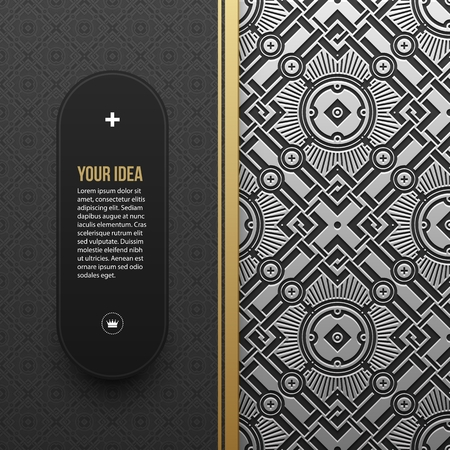 artdeco: Web banner template on silverplatinum metallic background with seamless geometric pattern. Elegant luxury style.