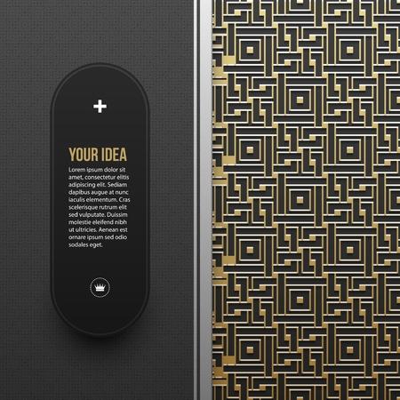 artdeco: Web banner template on golden metallic background with seamless geometric pattern. Elegant luxury style.